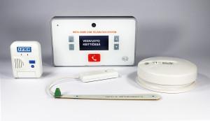 1PRO vuoto- ja kosteushälytin +  META HOME GSM +sensorit edestä tekstillä